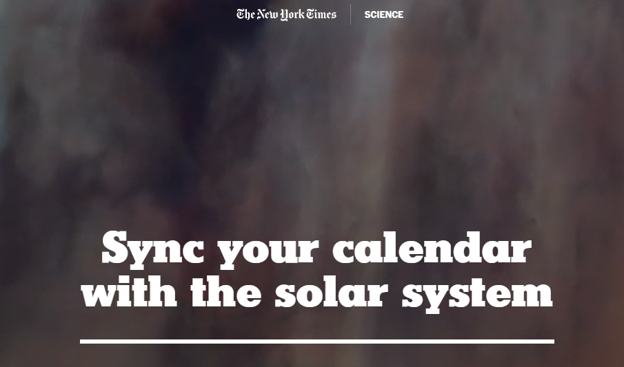 NYT Astronomy and Space Calendar